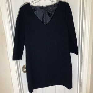 J Crew Navy Blue Wool Crepe V-neck Dress Sz 4